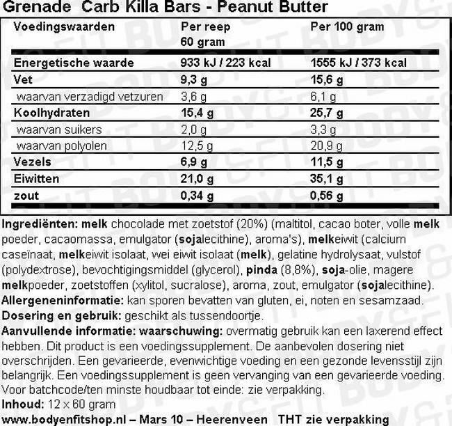 Grenade Carb Killa Bars Nutritional Information 1