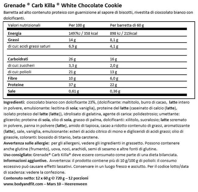 Barretta Proteica Carb Killa Nutritional Information 1