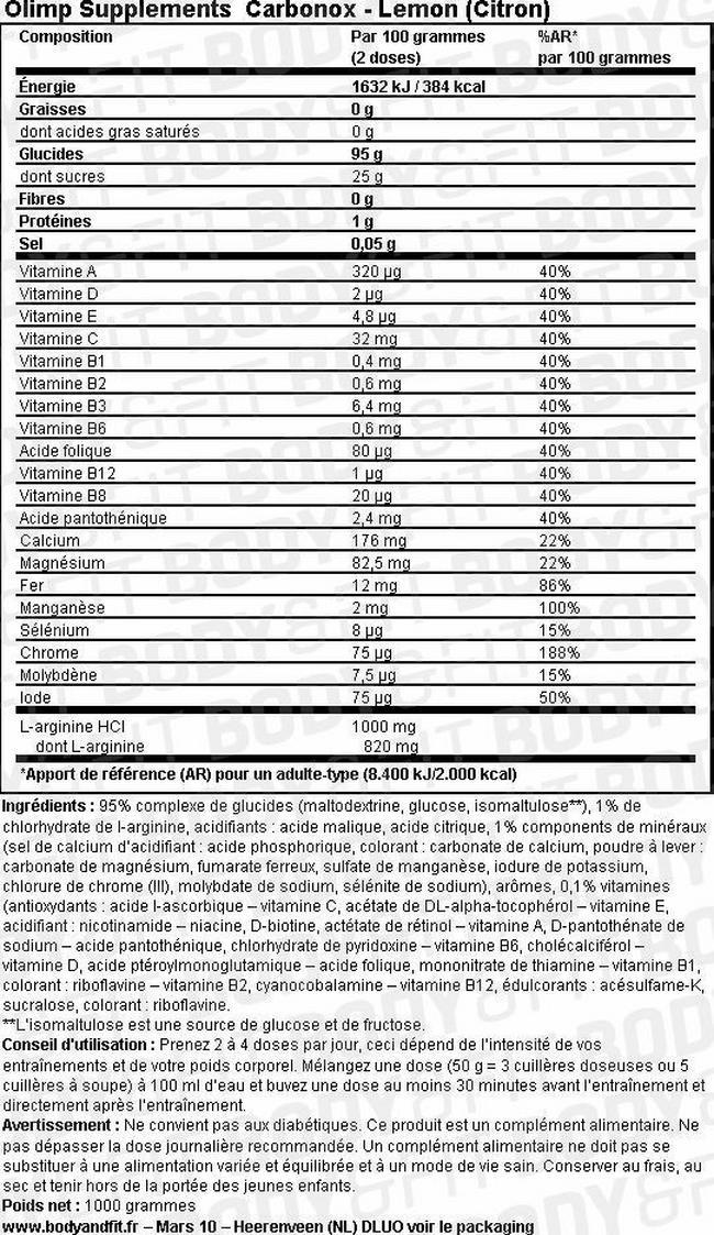 Carbonox Nutritional Information 1