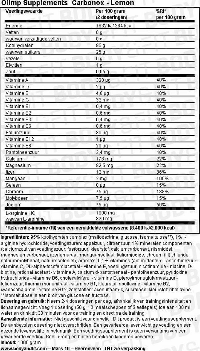 Carbonox Nutritional Information 1