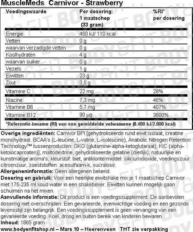 Carnivor Nutritional Information 1