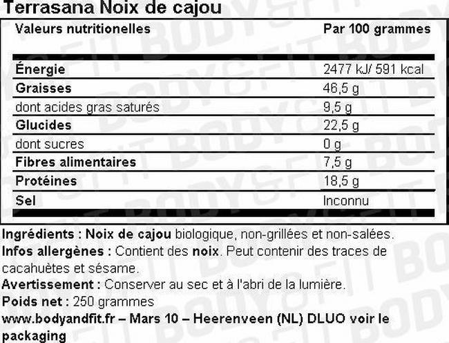Noix de cajou Nutritional Information 1