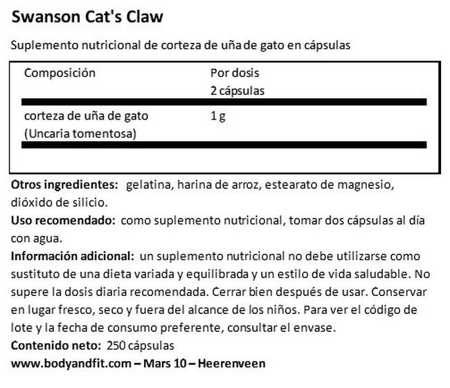 Cat´s Claw 500 mg Nutritional Information 1