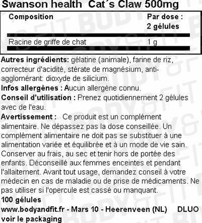Griffe de chat 500mg Nutritional Information 1