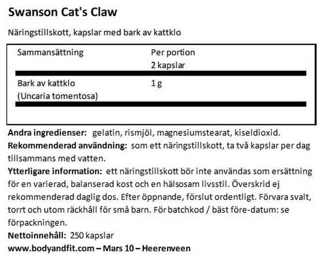 Cat's Claw 500mg Nutritional Information 1