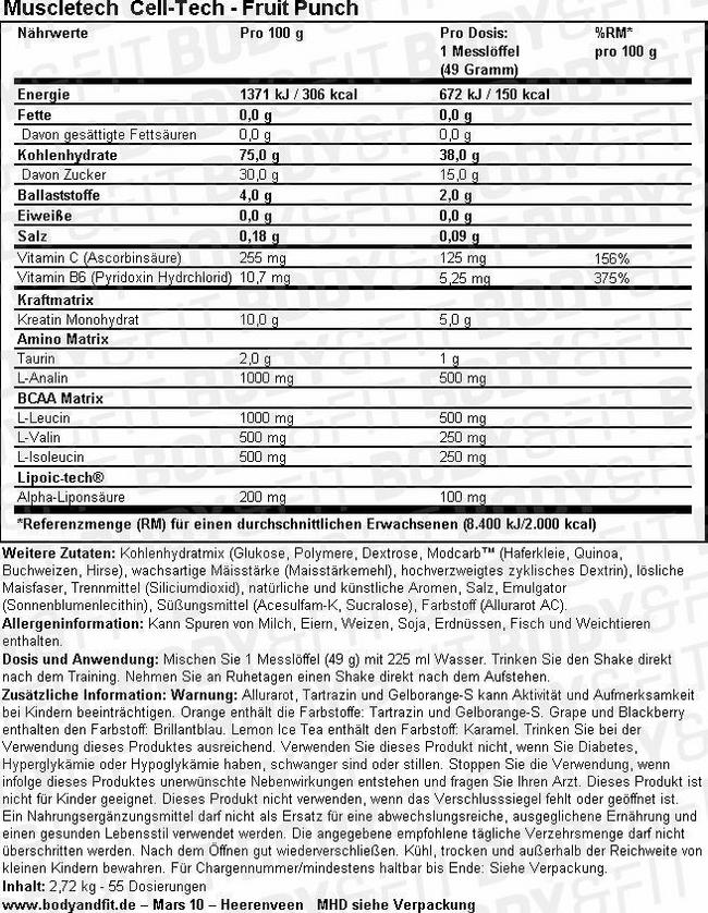 Cell-Tech Nutritional Information 1