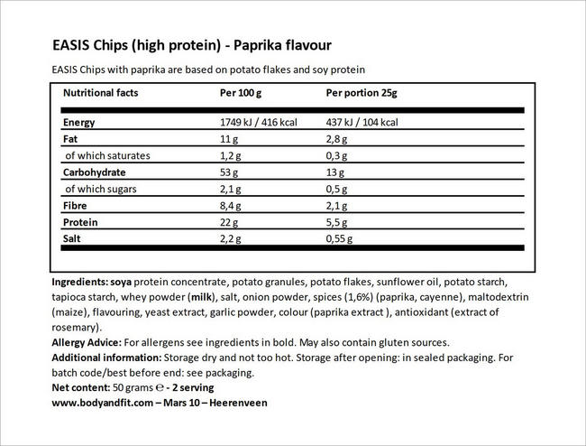 Chips (high protein & reduced energy) Nutritional Information 6
