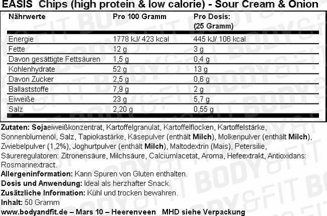 Chips (High Protein & Low Calorie) Nutritional Information 2