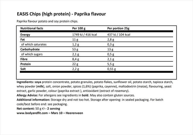 Chips (high protein & reduced energy) Nutritional Information 1