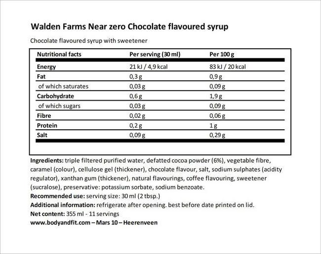 초콜릿 시럽 Nutritional Information 1