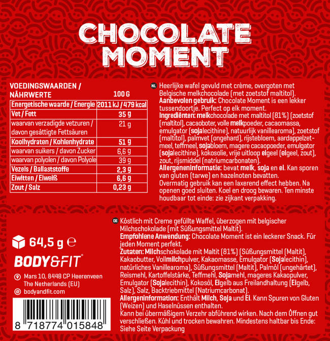 Chocolate Moment Nutritional Information 2