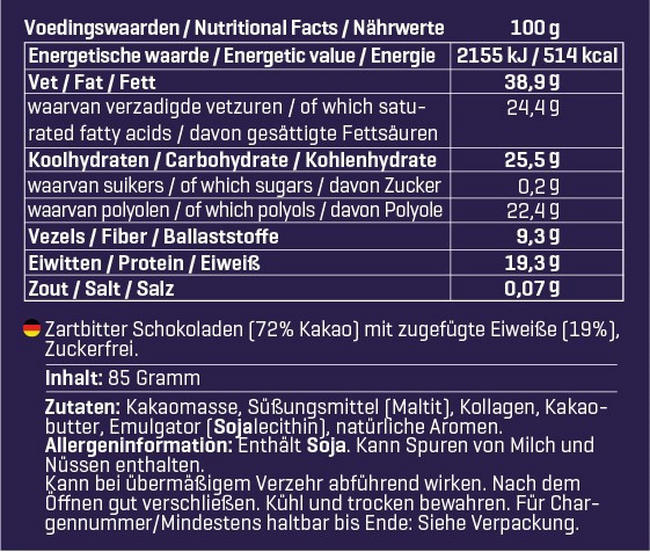 ChocoPro (Zuckerfrei) Nutritional Information 1