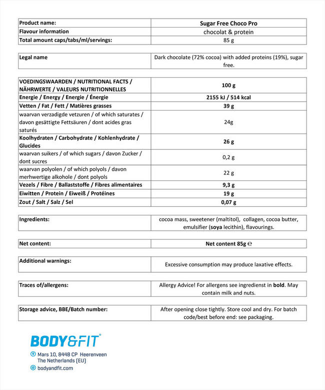 ChocoPro chocolate bar Nutritional Information 1