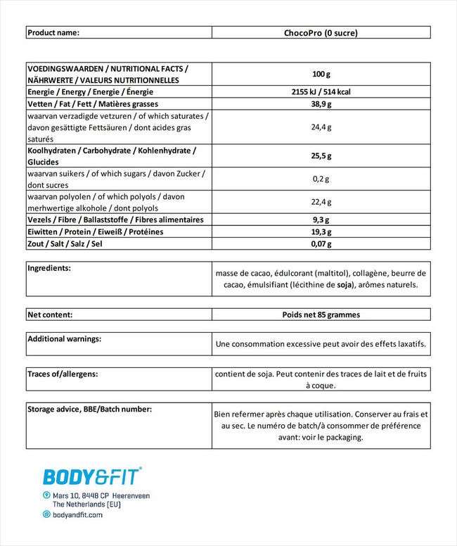 Barre chocolatée ChocoPro Nutritional Information 1