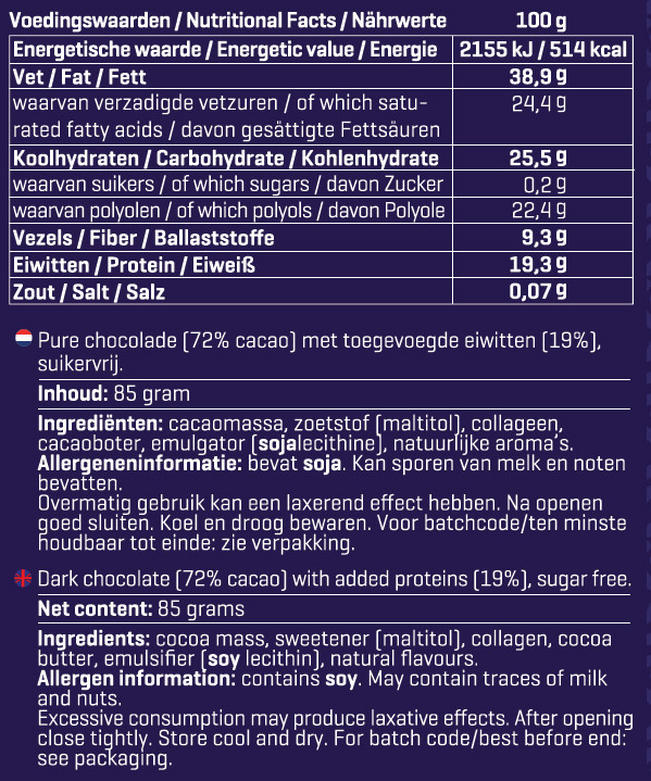 ChocoPro (0 suiker) Nutritional Information 1