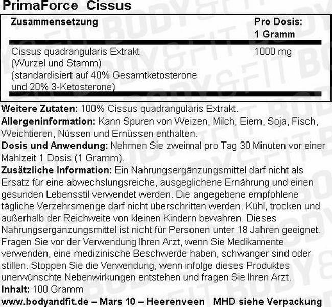 Cissus Nutritional Information 1