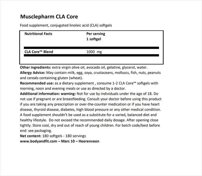 CLA Core Nutritional Information 1