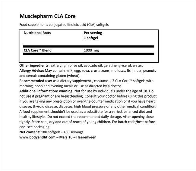 CLA 코어 Nutritional Information 1