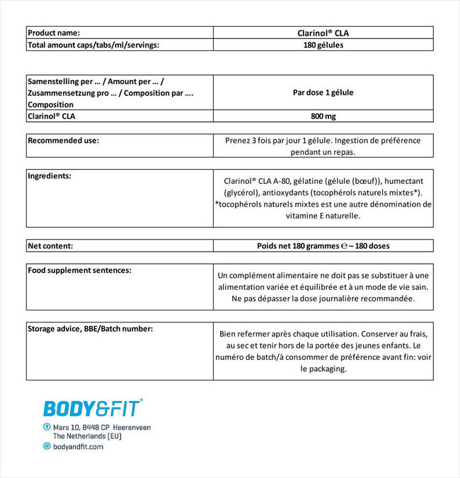 Clarinol® CLA Nutritional Information 3