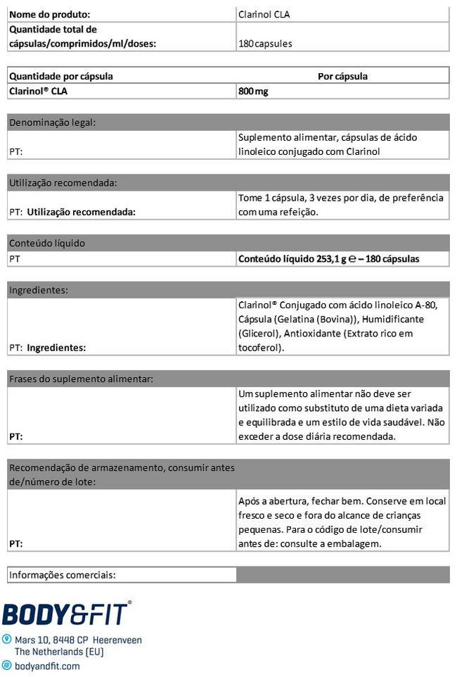 CLA Clarinol® Nutritional Information 1