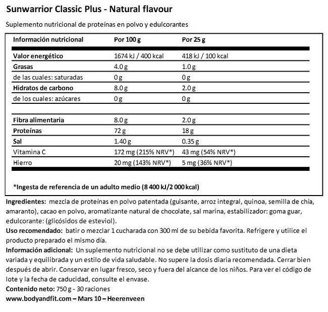 Classic Plus Nutritional Information 1