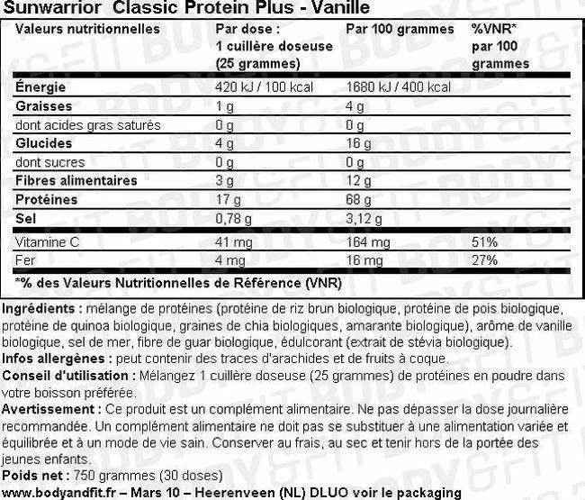 Protéine végétale Classic Plus Nutritional Information 1