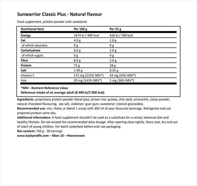 クラシックプラス Nutritional Information 1