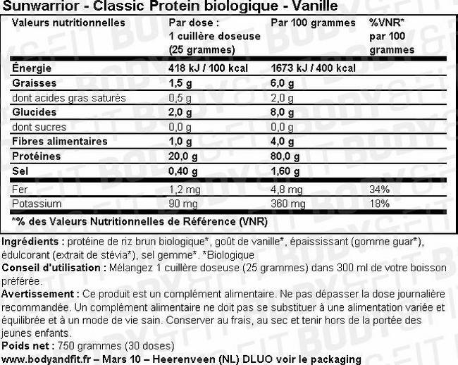 Protéine végétale Classic Protein Nutritional Information 1