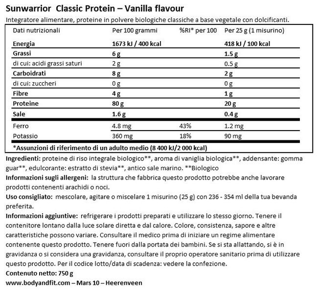 Proteine Vegane Classic Protein Nutritional Information 1