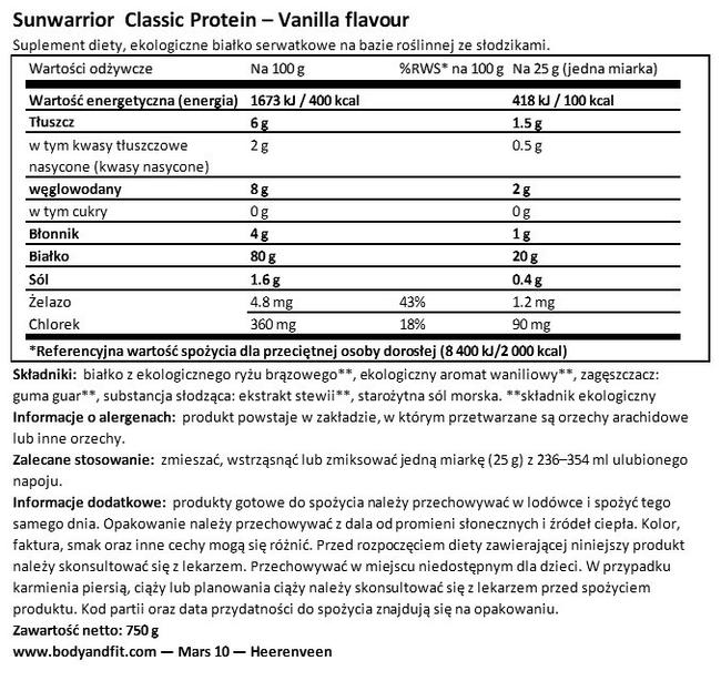 Classic Protein Nutritional Information 1