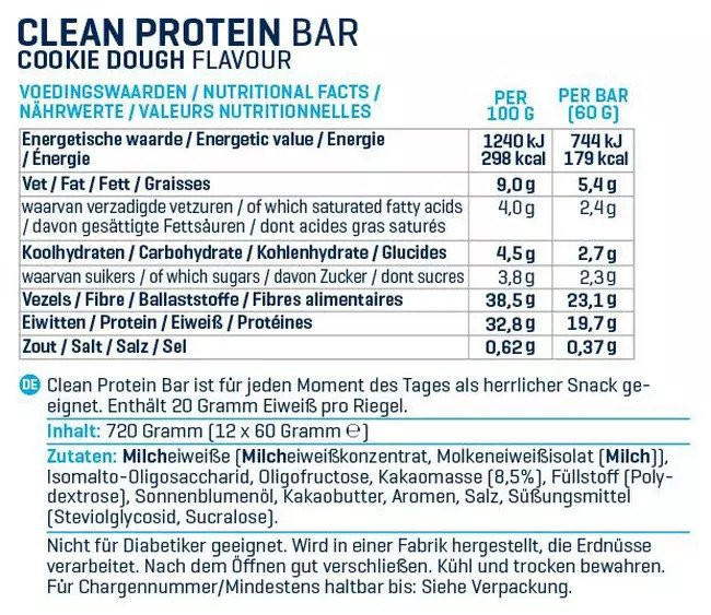 Clean Protein Bar Nutritional Information 4