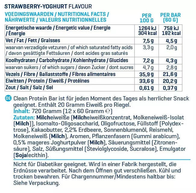 Clean Protein Bar Nutritional Information 5