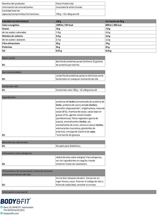 Clean Protein Bar Nutritional Information 1