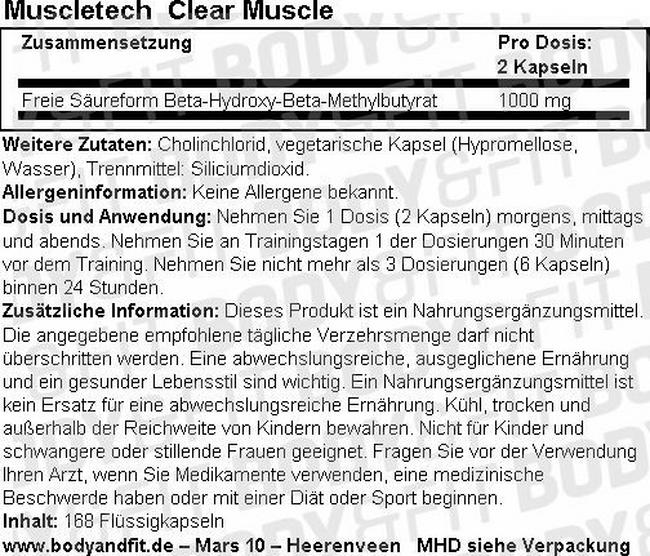 Clear Muscle Nutritional Information 1