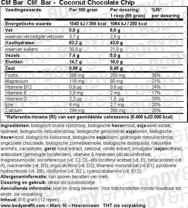 Clif Bar Nutritional Information 1