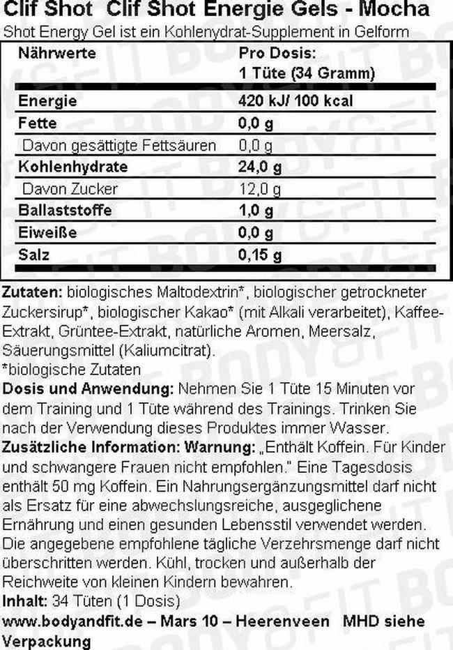 Clif Shot Energie Gels Nutritional Information 1
