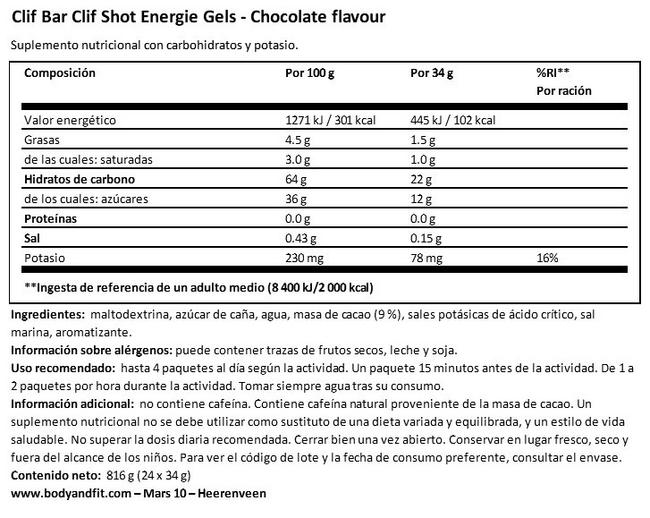 Clif Shot Energy Gels Nutritional Information 1