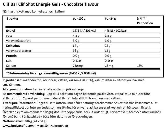 Clif Shot Energy Gels Nutritional Information 1