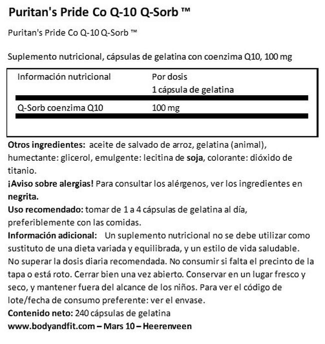 Co Enzima Q10 Puritans Pride 100 mg Nutritional Information 1