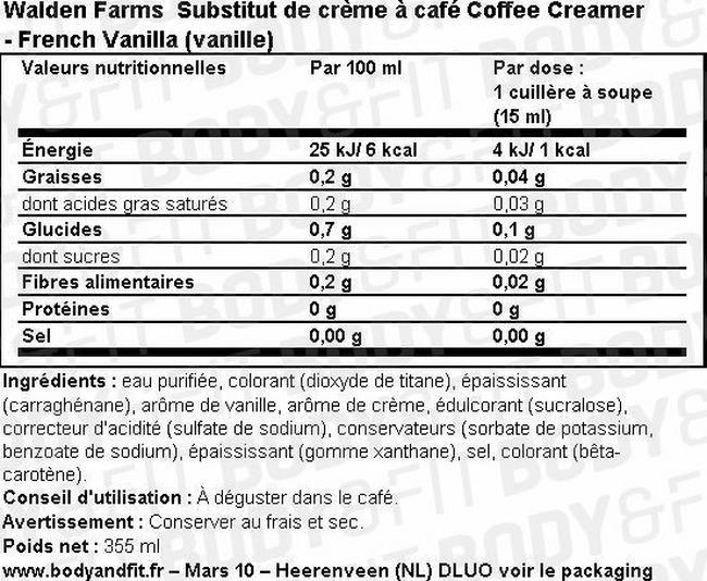 Substitut de crème à café Coffee Creamer Nutritional Information 2