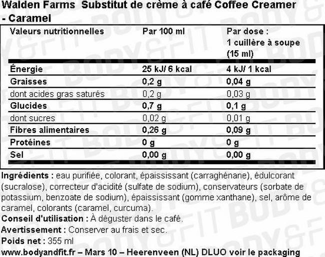 Substitut de crème à café Coffee Creamer Nutritional Information 3