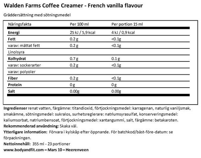 Coffee Creamer Nutritional Information 1