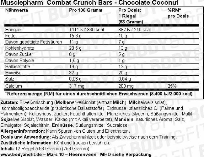 Combat Crunch Bar - Box (12X63g) Nutritional Information 1