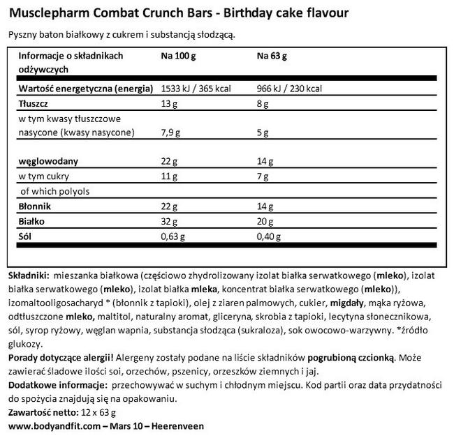 Combat Crunch Bar Nutritional Information 1