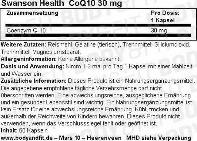 CoQ10 30 mg Nutritional Information 1