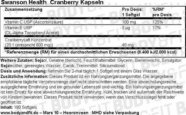 Cranberry Kapseln Nutritional Information 1