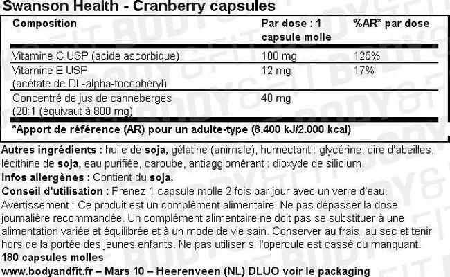 Capsules molles de canneberges Cranberry Capsules Nutritional Information 1
