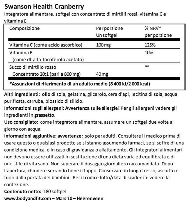 Capsule di Mirtillo rosso concentrato Nutritional Information 1
