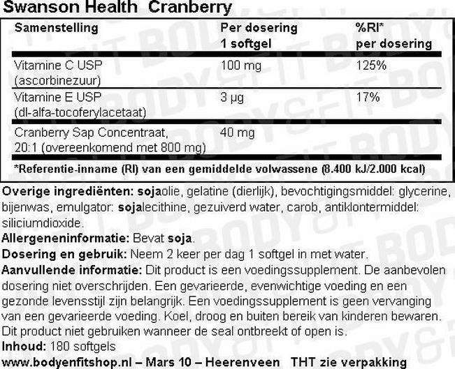 Cranberry Capsules Nutritional Information 1