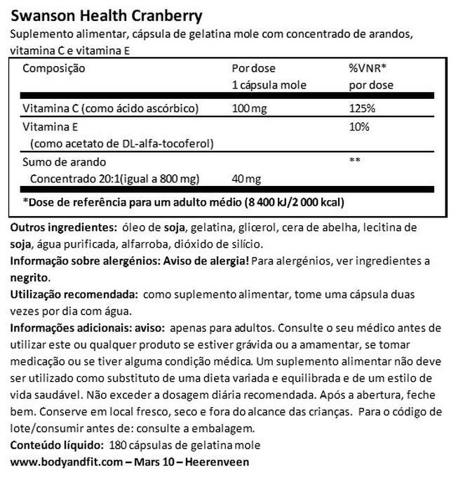 Cápsulas de arandos Nutritional Information 1